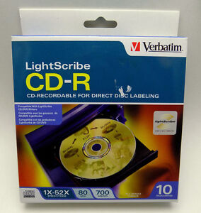 Brand New & Sealed Verbatim Lightscribe CD-R Discs - 10 Pack