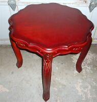 Solid wood Accent table w/hand carved legs and rim for sale