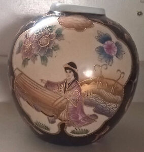 Chinese Hand Painted Ginger Jar Woman Playing Musical Instrument