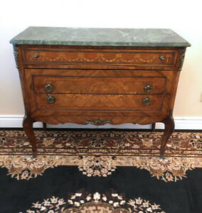 Bronze Mounted Louis XVI Marble Top Commode Sideboard SEE VIDEO