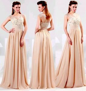 Lovely Long Illusion Neckline Peach Blush Evening Gown Sz 2 -New