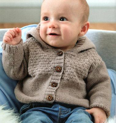 Boy/Girl Hooded Jacket Basketweave Yoke  0 - 18 mths 4 Ply Baby Knitting Pattern