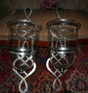 Pair of HUGE Nickel Hurricane Candle Sconces- virgin condition West Island Greater Montréal image 3