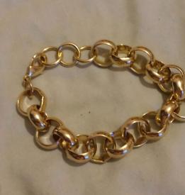 Mens 9ct gold plated over silver belcher bracelet