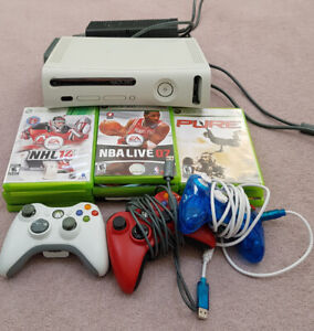 XBox 360 with games and 3 controllers