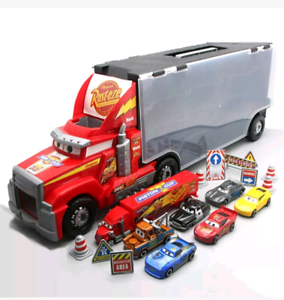 Mack Truck with 6 Diecast Racer Cars