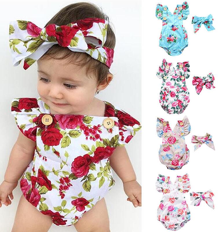 2pcs Baby Girl Clothes Newborn Headband+Flower Bodysuit Ropa