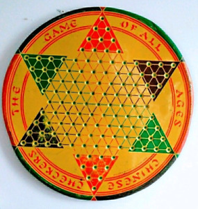 c.1940 Antique CHINESE CHECKERS Tin Board Game Vintage