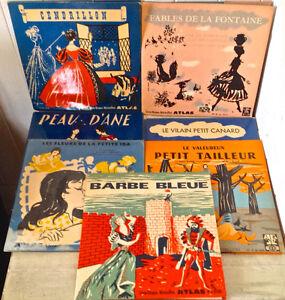Vintage 1959. Livres-disques Microsillons. Contes. Atlas. France