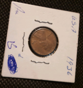 COINS US PENNY 1936,5CENTS US 1904,US PENNY 1941,19
