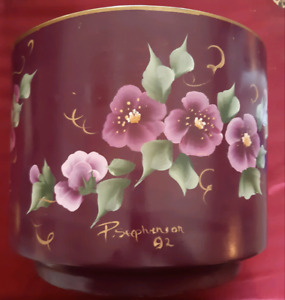 Hand-painted clay flower pot