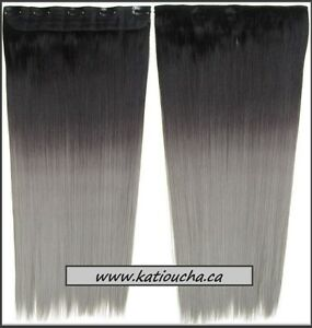 "GRAY OMBRE Clip in hair extension,Straight hair,60 cm, 24"" Yellowknife Northwest Territories image 2"