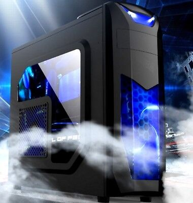 X3 PC Gaming Gehäuse Midi-Tower + 2x Blauen LED Lüfter + Fenster ATX mATX Gamer