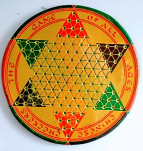 c. 1940 Antique CHINESE CHECKERS Tin Board Game Vintage