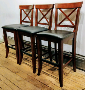 Set of 3 Traditional Bar Stools with Full Backs - Solid Wood