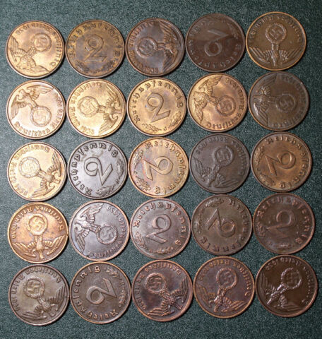 1 2 pfennig  with Swastika 1937-1940 Lot of Germany coins 4