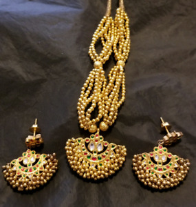 MINA WORK GOLD NECKLACE SET WITH EARINGS  22 CARAT,WT 53 GRAMS.