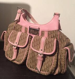 CHRISTIAN DIOR Bag Trotter Pink Beige Hobo Tote Diorissimo