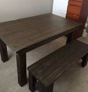 Beautiful Rustic Barn Wood Style Table and Bench (new material)
