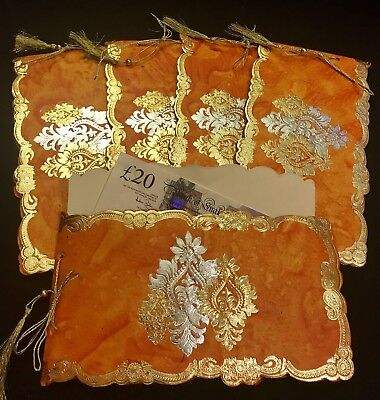 Royal Vintage Gold Wedding Salami Shagun Money Gift Envelope Pocket Cash Wallet