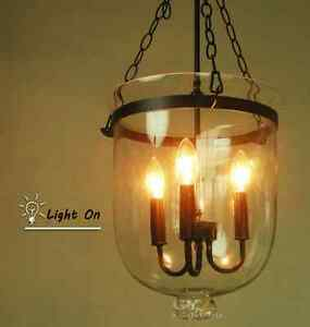 3 Light Hanging Pendant Lamp Clear Glass