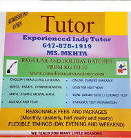 Lady Tutor (K - 12) in Brampton/Mississauga
