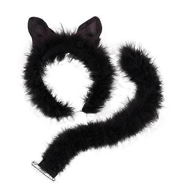 CAT SET - OHREN & SCHWANZ, FELL, CATWOMAN, HALLOWEEN KOSTÜM ZUBEHÖR #DE (Cat Ohren Halloween Kostüme)