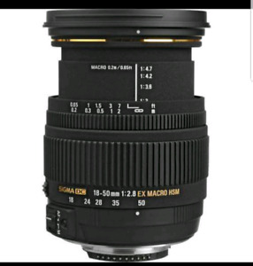 Sigma Zoom Wide Angle 18-50mm f/2.8 EX DC Macro AF Lens  Canon