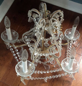 Beautiful brass and crystal CHANDELIER