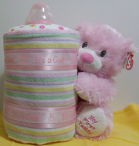 My First Teddy diaper cake bottle