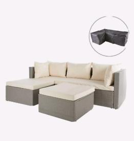 Gardenline Cream/Grey Rattan Sofa With Cover