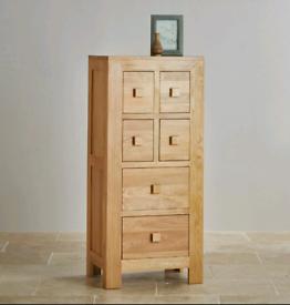 Oak Furniture Land Oakdale Solid Oak Tallboy / CD Storage Unit