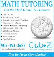 In-Home, 1-on-1 Tutoring-Math, Chemistry, Physics,English,French