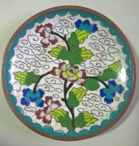 Vintage Small Cloisonné Plate, Chinese Enamel Pin Dish