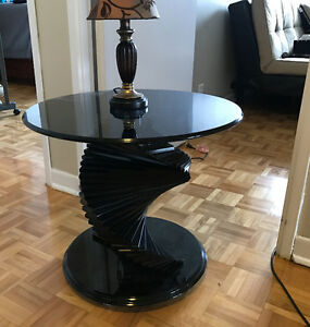 2 smoked glass end tables