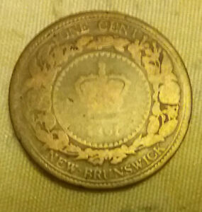 1861 New Brunswick Cent Coin Canada