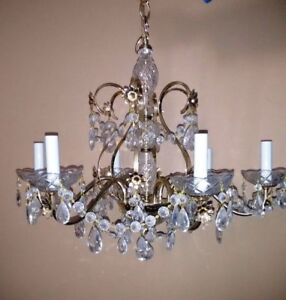 Antique Crystal Chandelier - 6 lights