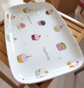 Large Happy Birthday Colorful Cupcake Serving Plate Dish