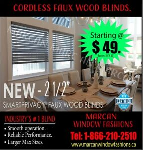 Cordless Faux Wood Blinds & Door Insert.
