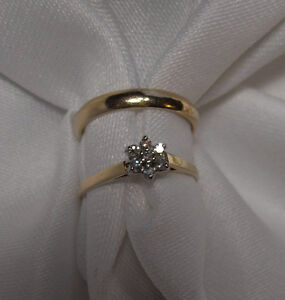 10kt  gold Diamond Engagement Ring and 10kt wedding band - Sz 5