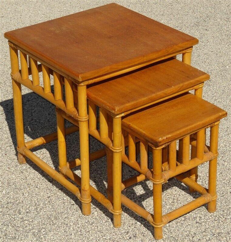 3 Piece CALIF-ASIA Mid Century Rattan Nesting Tables Set