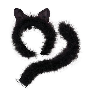 Katze Set mit Marabu Trimm Ohren und Schwanz Flauschig für Süß Weich Kostüm