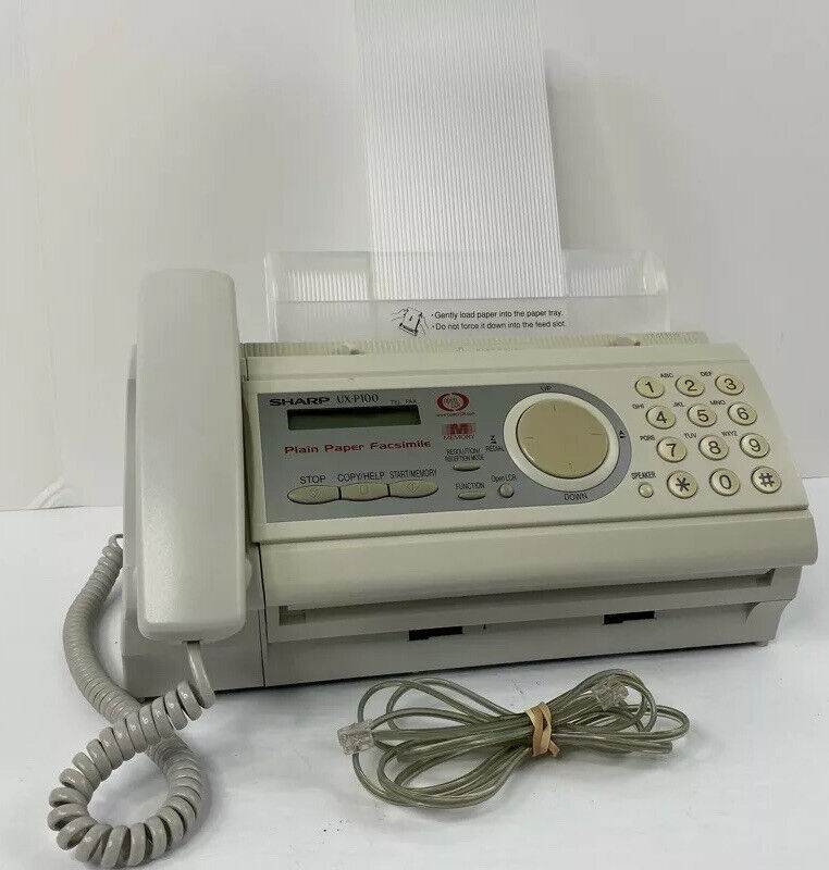 Sharp UX-P100 Plain Paper Fax Machine Tested Working - See Desc