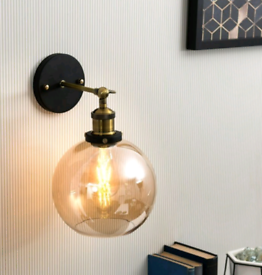 2x amber glass wall lights
