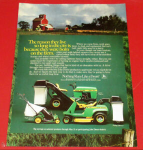 1983 JOHN DEERE RIDING LAWN MOWER TRACTORS AD - ANONCE TONDEUSE