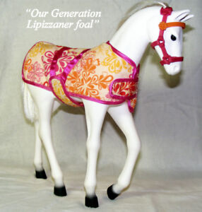 "OUR GENERATION TOY HORSE, 12"" with stall, blanket and harness"