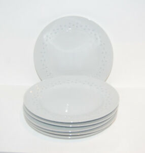 NEW White Rice Grain Pattern 9 inch Salad Plates - 6 Pieces
