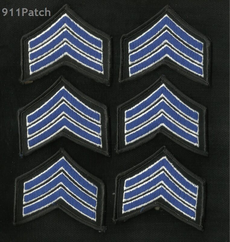 Lot of 6 - Sergeant Police Stripes Blue Chevron Law Enforcement Police Patches