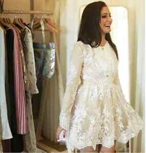 BRAND NEW White Embroidered Lace Overlay/Nude Underlay Dress