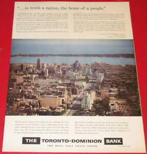 1959 TD - TORONTO DOMINION VINTAGE BANK AD - ANNONCE BANQUE